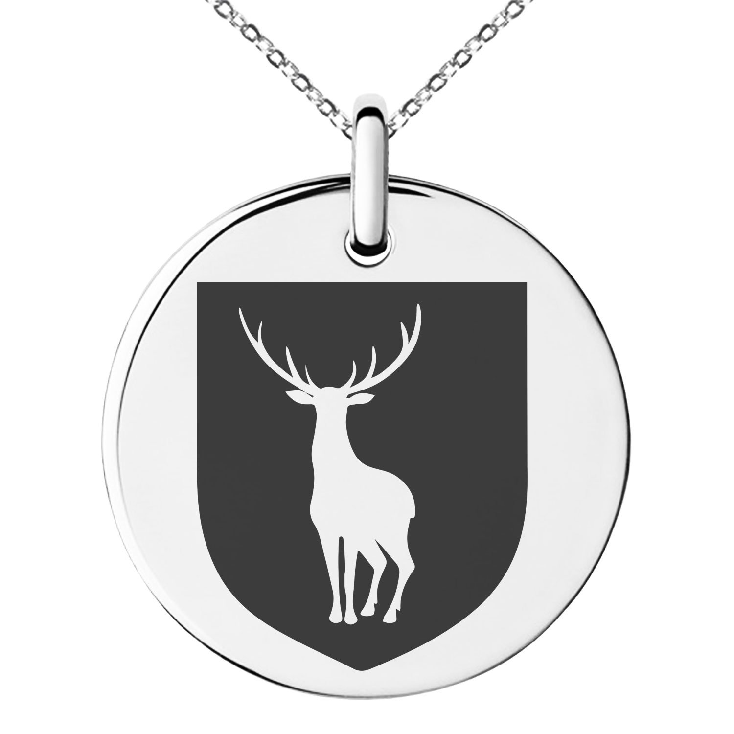 Tioneer Stainless Steel Stag Purity Coat of Arms Shield Symbol Engraved Small Medallion Circle Charm Pendant Necklace