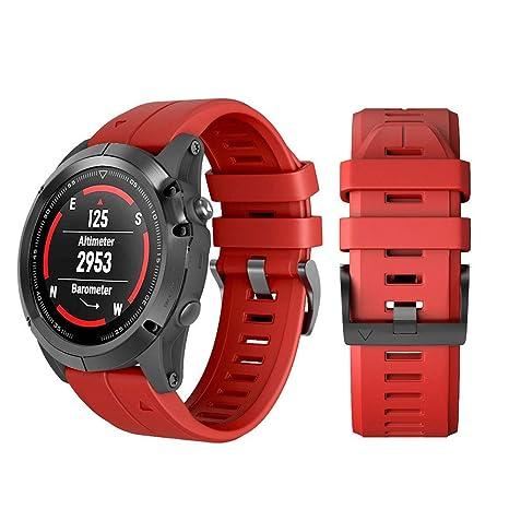 Gusspower Garmin Fenix 5X Plus Banda, Ajuste rápido Correa de Reloj de Silicona Suave para