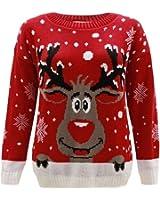 Kaaya Womens Knitted Xmas Christmas Rudolf Reindeer Snowflake Festive Deer Bambi Jumper Top