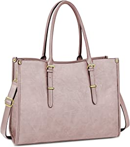 Laptop Bag for Women 15.6 Inch Waterproof Lightweight Leather Laptop Tote Bag Womens Professional Business Office Work Bag Briefcase Large Computer Bag Shoulder Handbag Light Pink