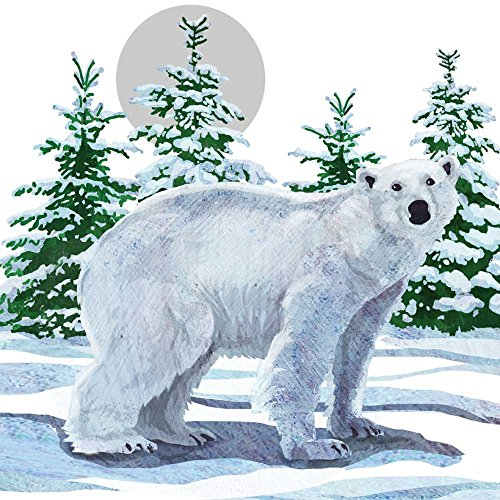 Paperproducts Design Paper Arctic Snow Polar Bear Luncheon Napkins, 6.5