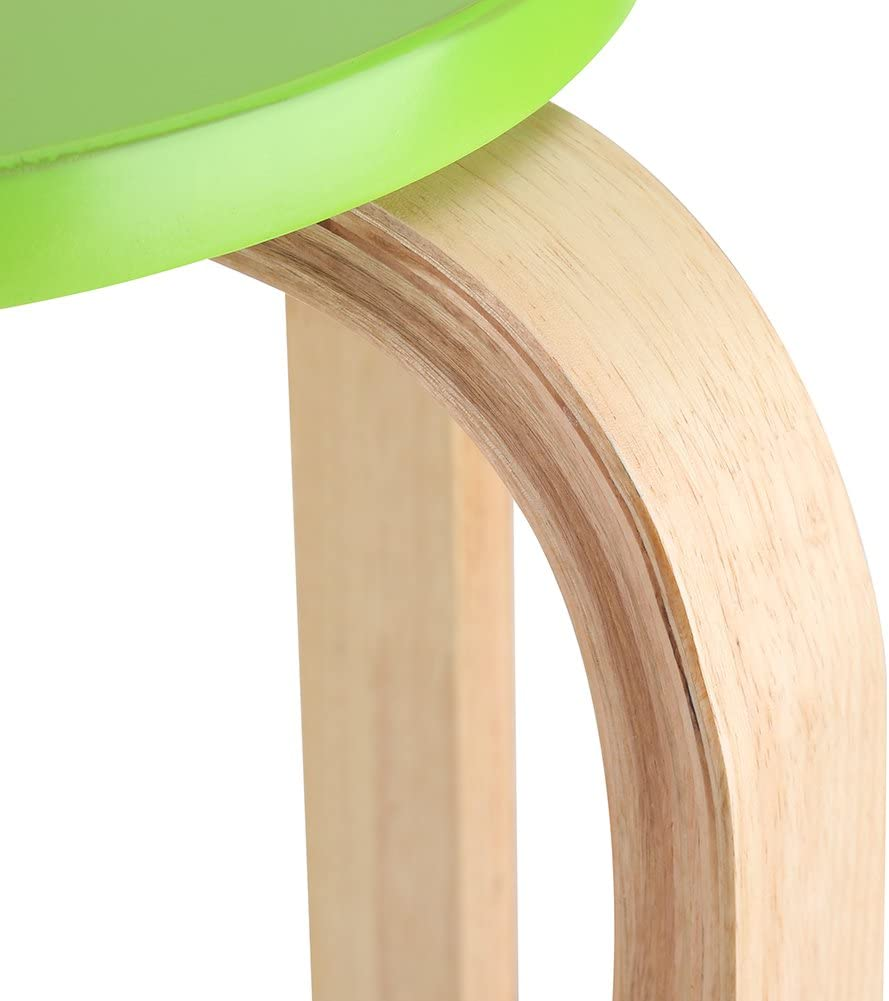 SKIESOAR Round Stool, Anti-Slip Bent Wood Stacking Stool Candy Color Chair with 4 Legs, 45.5 * 30cm (White) Green