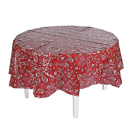 Red Bandana Round Plastic Tablecloth ()
