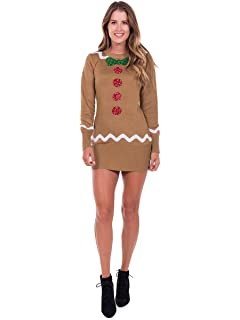 423d67c5be3 Tipsy Elves Women s Gingerbread Sweater Dress - Brown Ugly Christmas  Sweater Dress