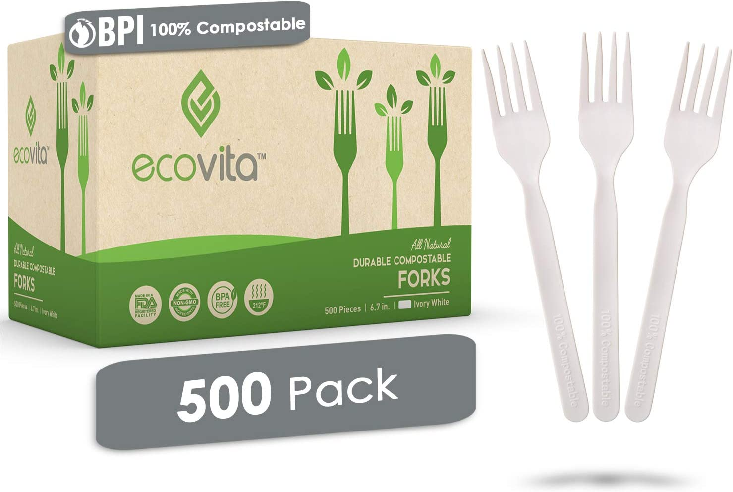 100 Compostable Forks 500 Large Disposable Utensils 7 In Bulk Size Eco Friendly Durable And Heat Resistant Alternative To Plastic Forks With Convenient Tray By Ecovita Amazon Ca Industrial Scientific
