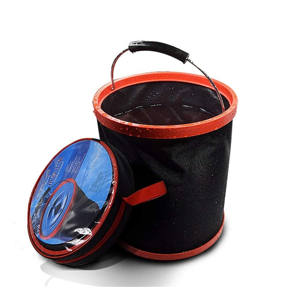 Collapsible Bucket Collapsible Bucket for Camping, Travel and Gardening  Portable Folding Wash Basin Water Container Pail, with Lid and Handy Tool Pocket  by. Camping Outdoor Survival