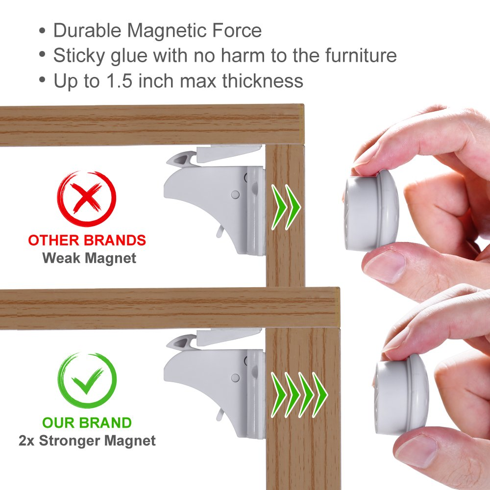 Magnetic Baby Safety Locks of Kikoocare for Cabinets & Drawers,8 Lock + 2 Key for Baby Proofing Cabinets by Kikoocare (Image #4)