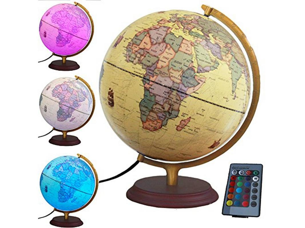 NAK Globes Illuminated World Globe with Built in multi-color LED light 12'' with remote