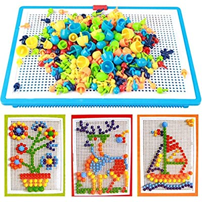 296 pcs Jigsaw Puzzle Mix Colour Mushroom Nails Pegboard Educational Building Blocks Bricks Creative DIY Mosaic Toys 3D Games Birthday Christmas Party Gift for Kids Children Age Over 3 Years Old: Toys & Games
