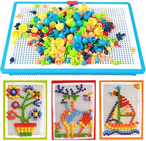 296 pcs Jigsaw Puzzle Mix Colour Mushroom Nails Pegboard Educational Building Blocks Bricks Creative DIY Mosaic Toys 3D Games Birthday Christmas Party Gift for Kids Children Age Over 3 Years Old