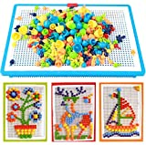 Children's 296 Pcs DIY Puzzle Mushroom Nails Creative Mosaic Nail the Composite Picture Jigsaw Peg Puzzle Game Mosaic Pegboard Intelligent 3D Games Educational Toys for Kids Children Xmas Holiday Gift