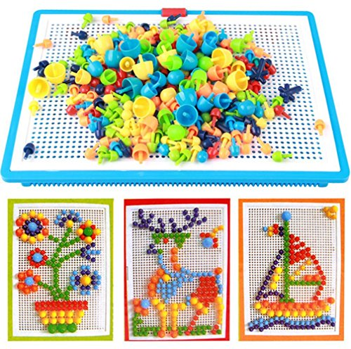 (296 pcs Jigsaw Puzzle Mix Colour Mushroom Nails Pegboard Educational Building Blocks Bricks Creative DIY Mosaic Toys 3D Games Birthday Christmas Party Gift for Kids Children Age Over 3 Years Old)