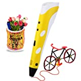 Soyan 3D Printing Pen for Doodling, Art & Craft Making, 3D Modeling and Education, Comes with 30 Grams 1.75mm ABS Filament (Yellow)