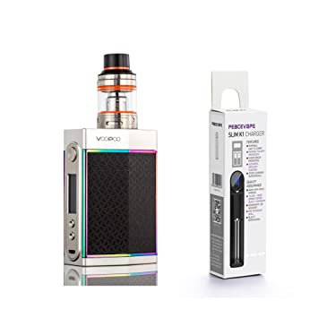 VOOPOO TOO Full Kit - Upgrade of Voopoo Drag - Designed in California -  Ditch/Silver Frame with PEACEVAPE™ 1-Slot Slim Charger