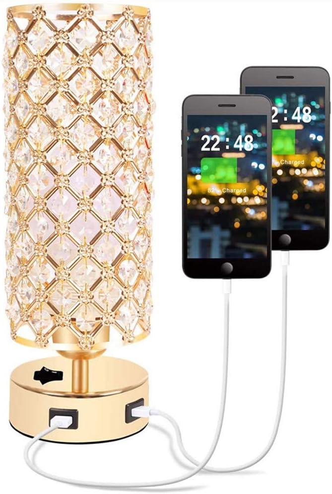 WODT Lámpara de Mesa USB de Cristal, lámpara de mesilla de Noche Moderna de Cristal Dorado con Puerto de Carga USB Dual, lámpara de mesita de Noche Redonda Decorativa Dormitorio