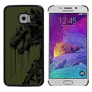 Abstract Dragon - Metal de aluminio y de plástico duro Caja del teléfono - Negro - Samsung Galaxy S6 EDGE / SM-G925 / SM-G925A / SM-G925T / SM-G925F / SM-G925I