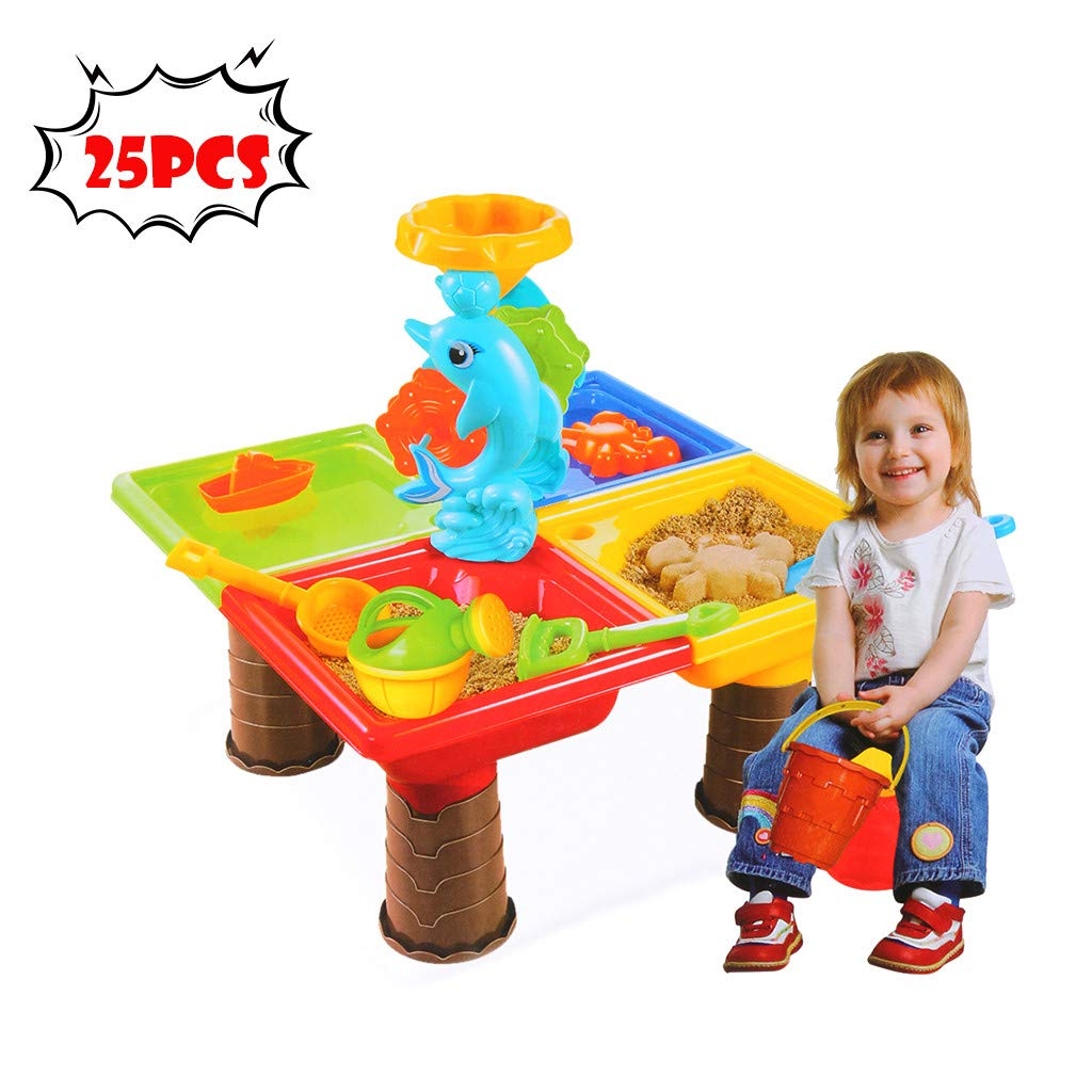 Lavany Splash Sand and Water Table Playset,Beach Toys Seas Water Table for Kids Baby,US Stock (25 PCS)