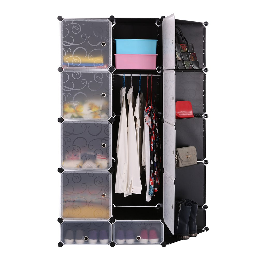 Portable DIY Storage Cabinet,Cubby Shelving Modular 15 Cube Storage Space Saving Wardrobe Closets with Stickers for Bedroom Clothes Shoes Toys (Black) by maxgoods (Image #3)