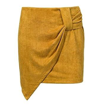 HEHEAB Falda,Vintage Amarilla Envolver Las Mujeres Falda De ...