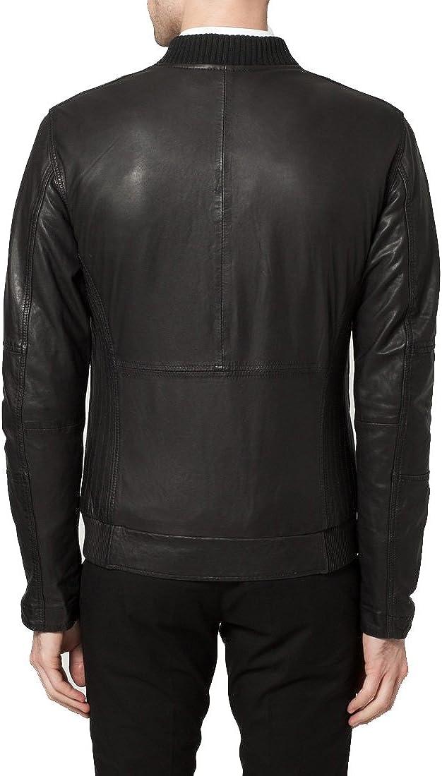Mens Genuine Lambskin Leather Jacket Slim Fit Biker Motorcycle Jacket T300