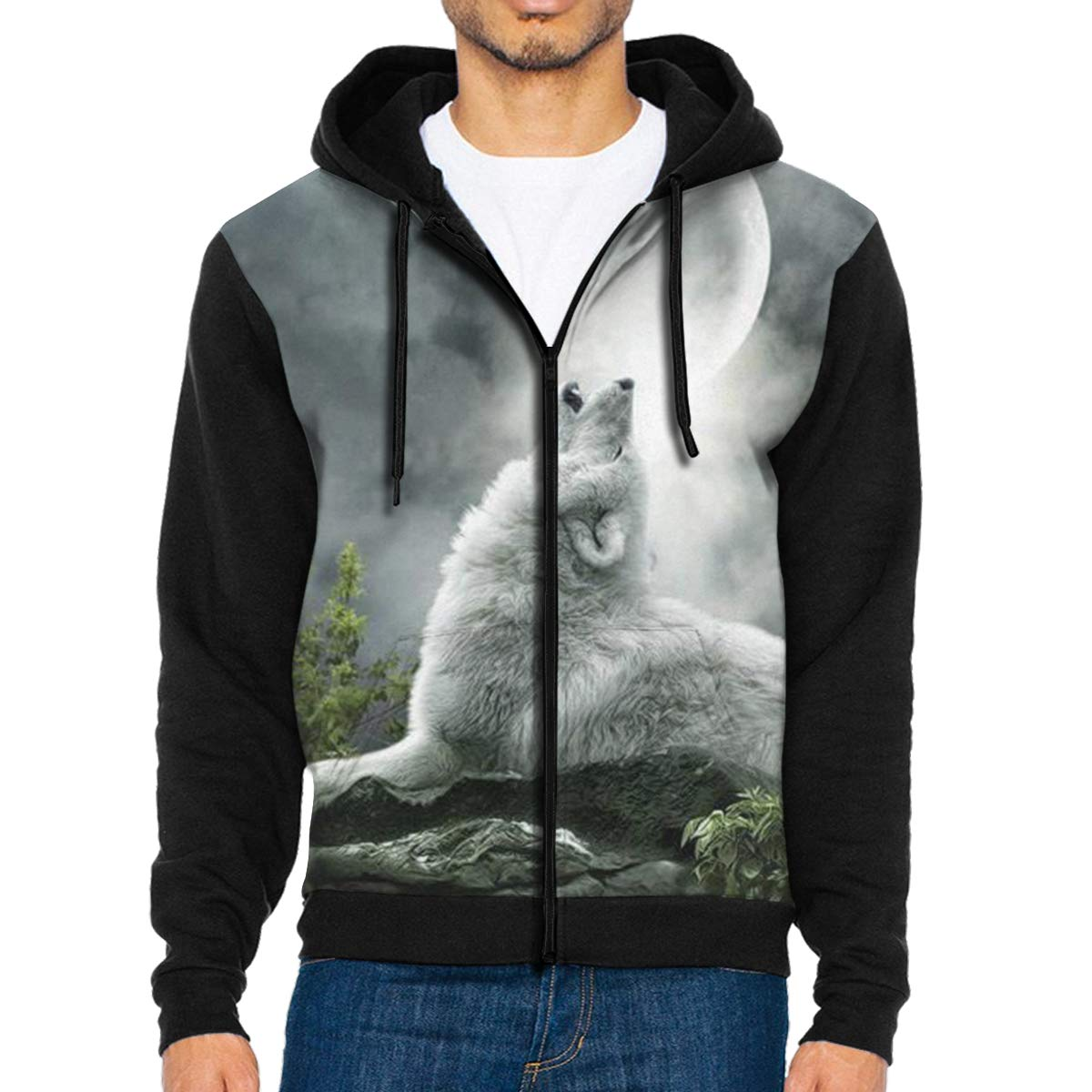 Mens Pullover Hood White Howling Wolf Zip Hoodies Hooded Classic Jackets Coats