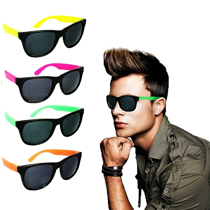0dc36ad243e Amazon.com  Toy Cubby Wayfarer Style Sunglasses Classic Teen Kids Party  Favors Neon 24 Pieces  Clothing
