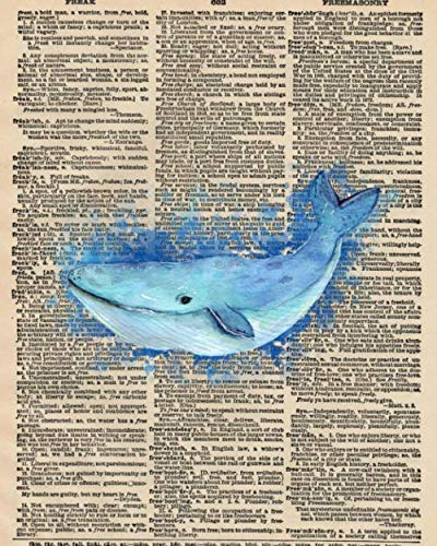 Note Whale - Notebook: 8x10 Inch Matte Softcover Paperback Journal With 120 Blank Lined College Ruled Pages, Upcycled Dictionary Whale Cover Design