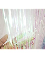 GOER 3.2 ft x 9.8 ft Metallic Tinsel Foil Fringe Curtains for Party Photo Backdrop Wedding Decor
