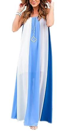 9dc3dd6db78e Jastore ® Damen Sommerkleid Strandkleid Boho Weiß Casual lang Kleid einfach  Frauen Maxi Kleider gestreift Träger