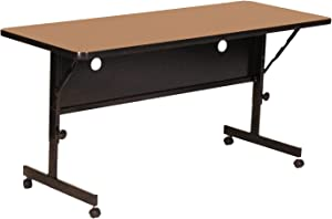 "Correll FT2460-06 Deluxe Flip Top Table, 24"" x 60"", Medium Oak High Pressure Laminate Top, Rectangle,"