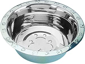 QT Dog Embo Stainless Steeled Rim Standard Stainless Steel Food Bowl, 1 Pint