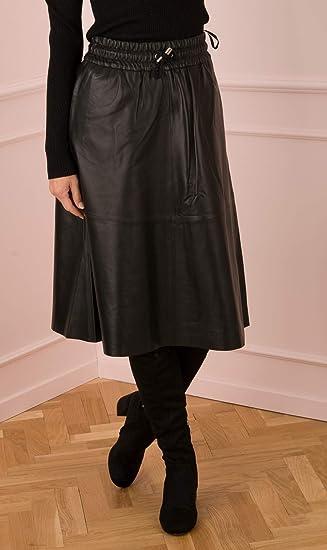White T - Falda de piel, color negro Negro 42: Amazon.es: Ropa y ...