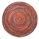 bright colored area rugs - HF by LT Valencia Rug Collection Round Area Rug, 5', Tightly Braided Chindi and Jute, Reversible, Durable, Sustainable, Multi-colored, Five Colors Available