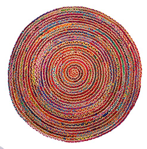 HF by LT Valencia Collection Round Area Rug, 5', Durable and Sustainable Chindi and Jute, Reversible, Multi-Colored, Five Colors Available (Furniture Sustainable Room Living)