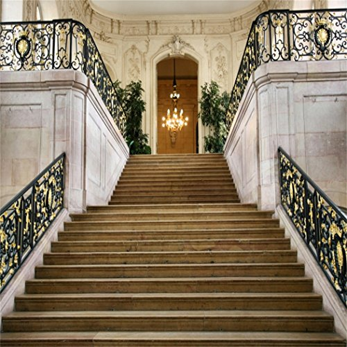 Baocicco 8x8ft European Architectures Photo Backdrop Arch Exquisite Black Stair Railing Staircase Luxury Chandelier Photography Background Wedding Birthday Ceremony Honeymoon Travel Portrait