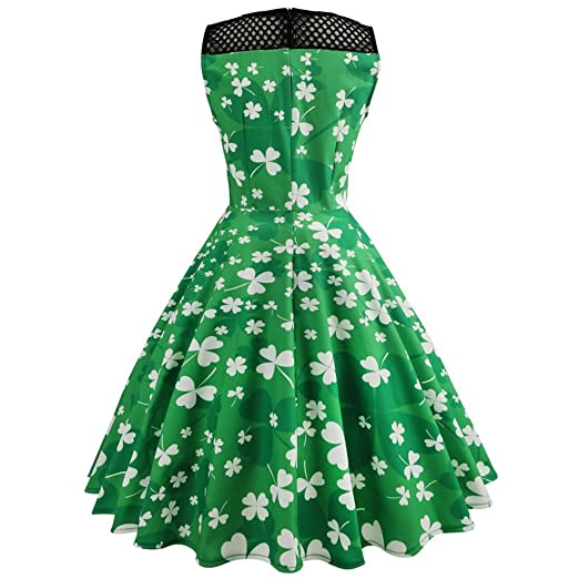 Là Vestmon Mesh Patchwork Dress Four-Leaf Clovers Print Sleeveless Swing Cocktail Dresses at Amazon Womens Clothing store: