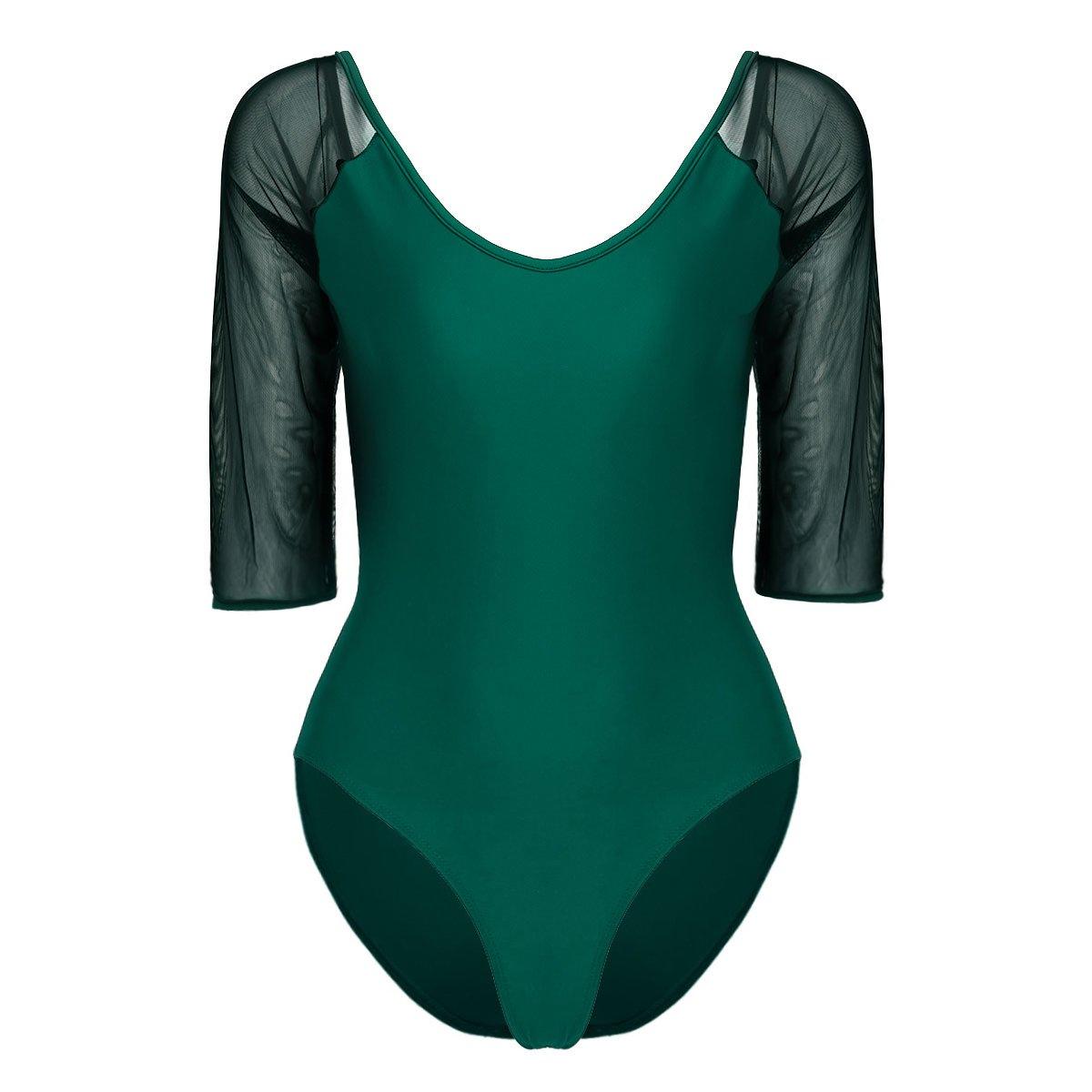 iixpin Justaucorps de Gymnastique Classique Femme à Manches Longues Bodys Ballet Classique Costume de Danse Moulante Bodysuit Jumpsuit pour Adulte Taille S-XL