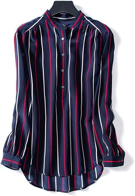 AIBAB Camisa De Seda De Manga Larga para Mujer. Top De Gasa Collar De Pie Rayas Verticales Delgado Azul Marino: Amazon.es: Deportes y aire libre