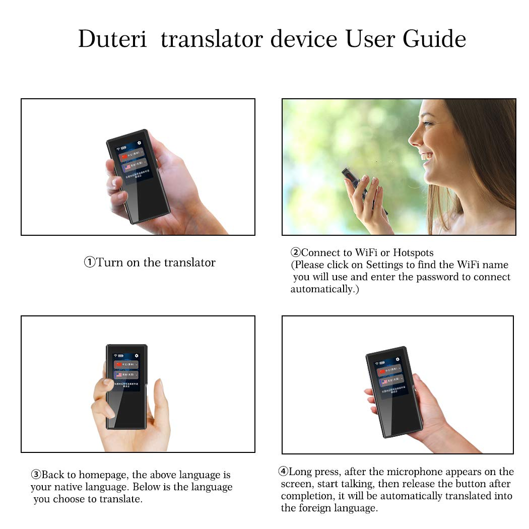 Translator Device with 2.4 Inch High Definition Toch Screen Support 70 Languages Smart Voice for Travelling Abroad Learning Off-Line Shopping Business Chat Recording Translations by Duteri (Image #3)