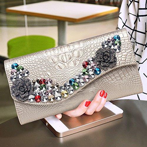 Sac cuir de soirée diamant diamant sac main à percer Blanc Couleur au main la sac à capacité à grande à à mode Or sac en sac en gpgrUxwTq