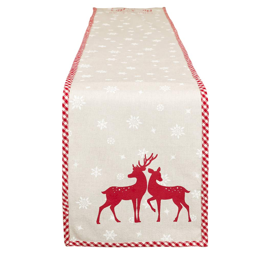 140cm Table Runner - Gingham Edge Red Woodland Stag Deer Design Dining Linen