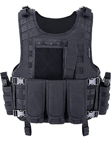 f3a01afcecba2 MGFLASHFORCE Tactical Vest Adjustable Airsoft Vest Breathable Military  Combat Training Vest for Outdoor Hunting