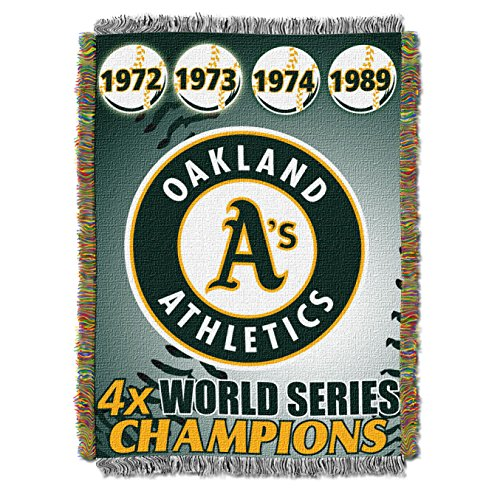 Officially Licensed MLB Oakland Athletics Commemorative Woven Tapestry Throw Blanket, 48