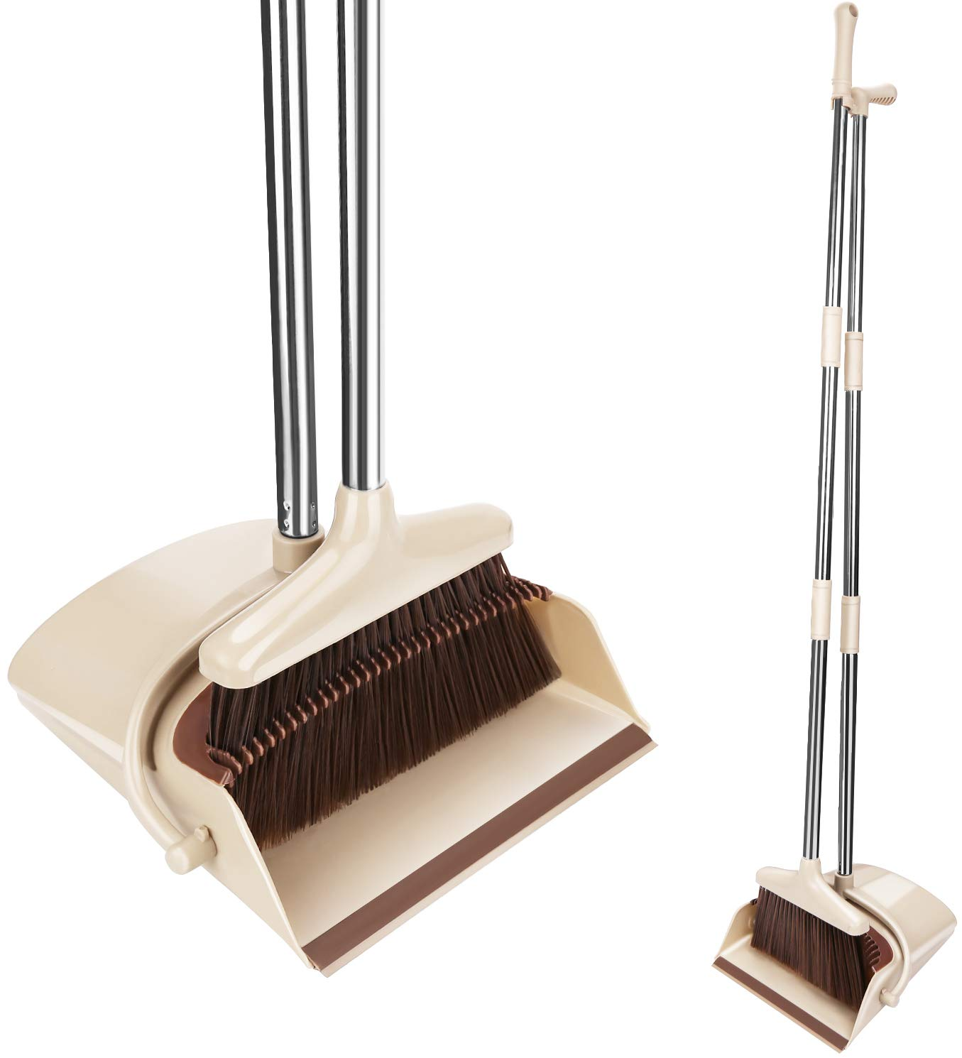 Lunies Broom and Dustpan Combo Set with 51' Long Handle & Teeth for Upright Sweep Kitchen Home Lobby Office House Clean Beige