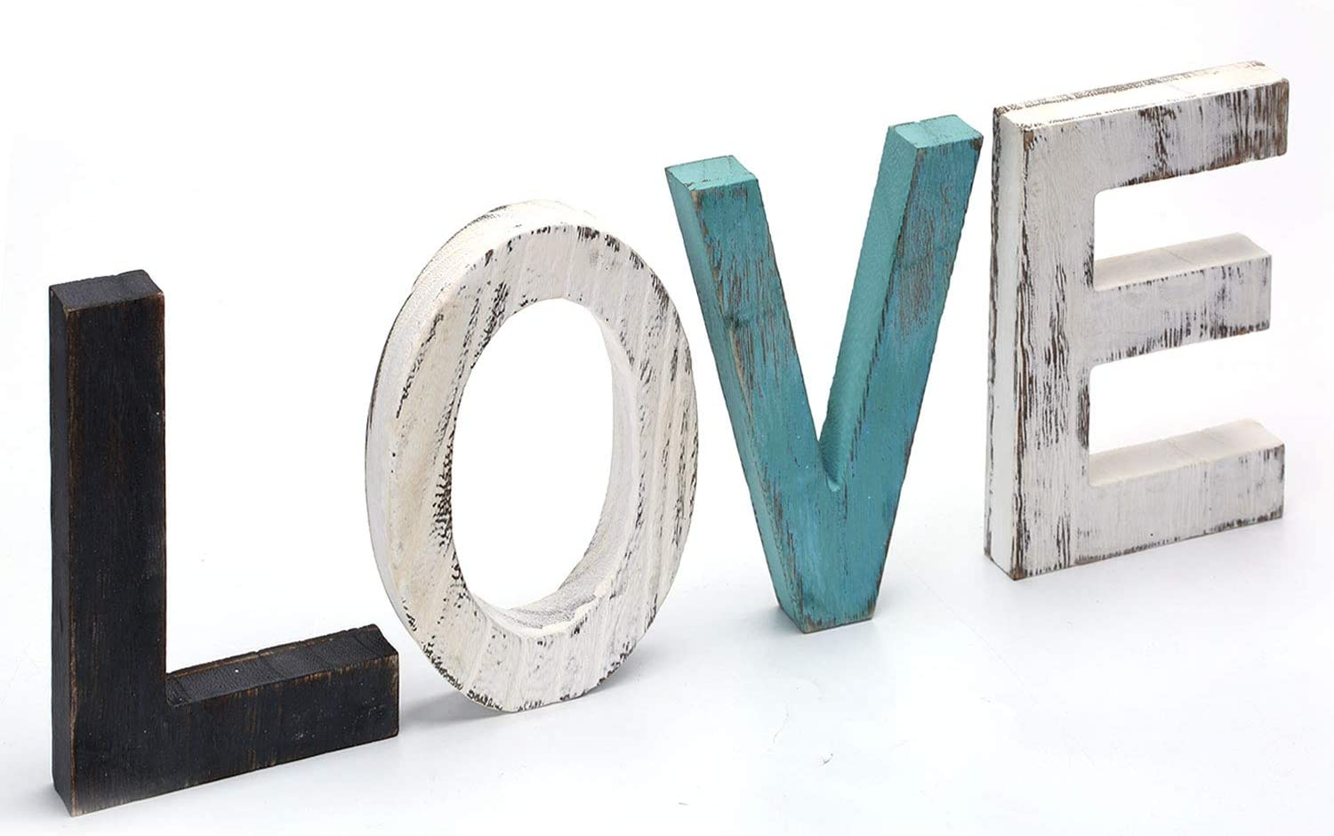 CuffUp Home Decor Love Sign, Wooden Letters Love Signs Wall Decor Rustic Turquoise Decor