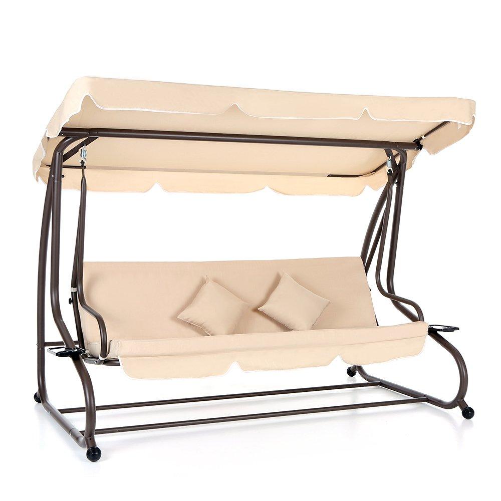 dual use furniture. IKAYAA Garden Swing Chair Patio Outdoor Folding Bed Cushioned Metal Swinging Hammock Bench With Canopy 2 Pillows: Amazon.co.uk: Dual Use Furniture