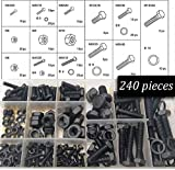 240 Piece metric Nuts And Bolts Set – Black Oxide Finish Hex Head Bolts, Hex Nuts, And Washers – Assorted Kit - Re-Sealable Plastic Case – By Katzco
