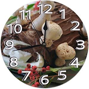 Angel Rainbow Christmas Yule Log Cake Round Home Wall Clock Non-Ticking Silent Decorative Clocks Battery Operated Decor Indoor Kitchen Personality Decoration Bedroom Living Room Gift