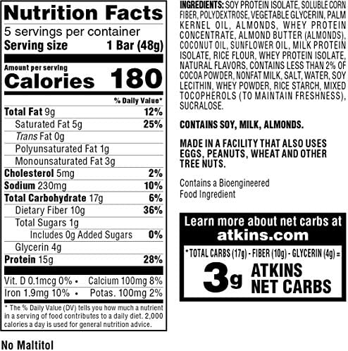Atkins Protein Meal Bar, Chocolate Almond Caramel, Keto Friendly, 5 Count 3