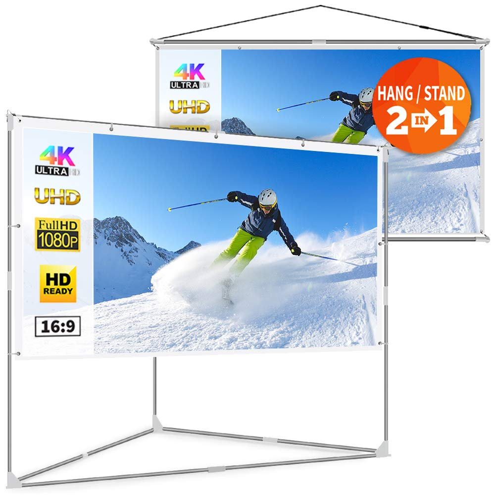 JaeilPLM 80-Inch 2-in-1 Portable Projector Screen Outdoor & Indoor Compatible Instant Wrinkle-Free with Triangle Stand or Hanging Design Movie Projection for Home Theater, Gaming, Office by JaeilPLM